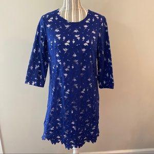 Cynthia Steffe Blue & White Lace Overlay Dress